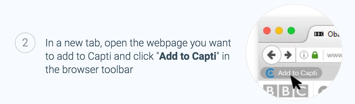 Click Add to Capti to import text on the screen to a track in your playlist