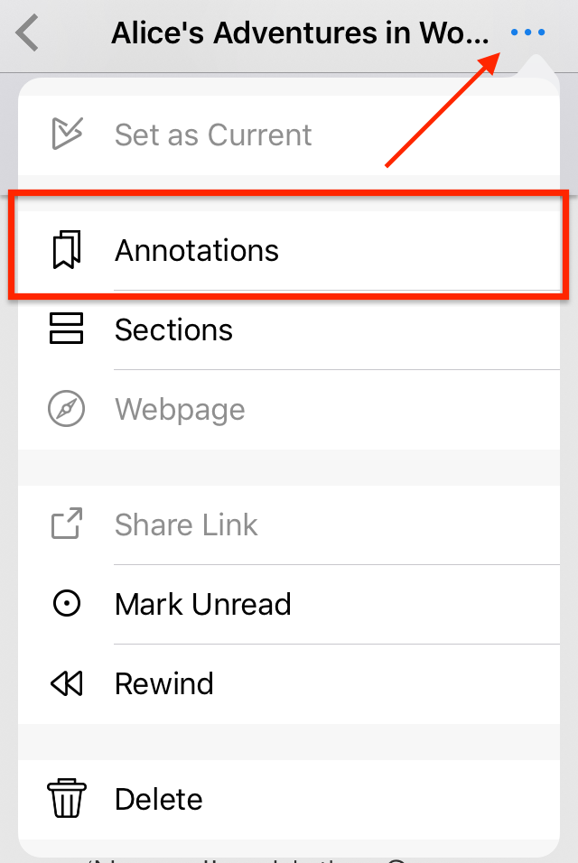 Annotations highlighted in menu