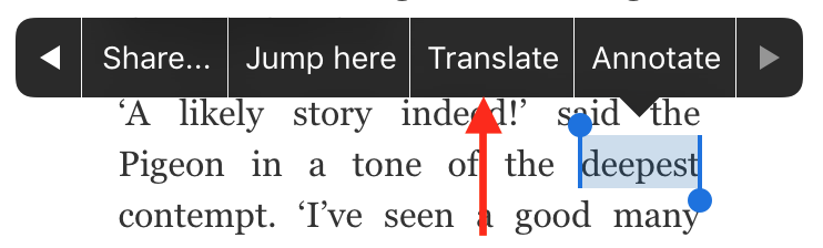Highlighted word options: Share, Jump Here, Translate, Annotate