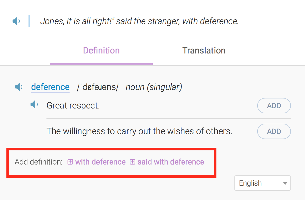 Add your own definitions to your word list