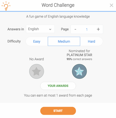 Choose the language and difficulty to begin playing the Word Challenge Game